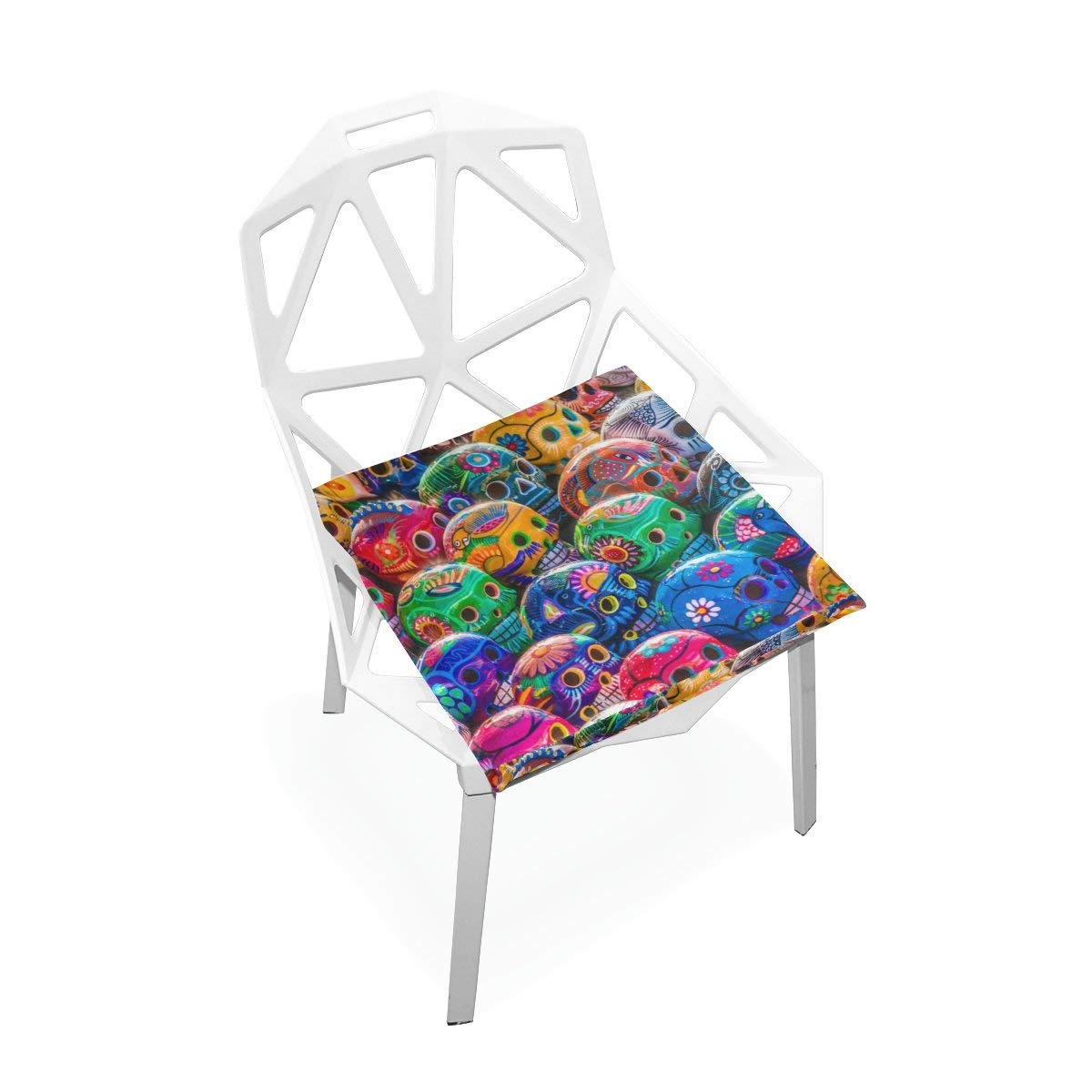 """PLAO Seat Cushion Pad, Skulls Flowers Cushions Seat Nonslip Chair Mats for Car Office Kitchen Chairs 16"""" X 16"""""""