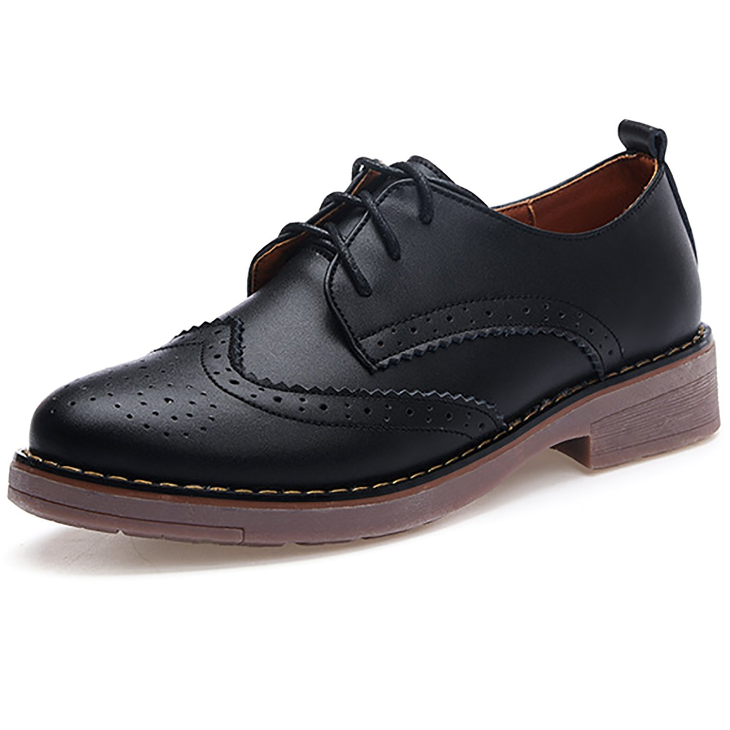cf3b59fc17 Get Quotations · Odema Womens PU Leather Oxfords Brogue Wingtip Lace Up  Dress Walking Shoes Low Heels Oxfords
