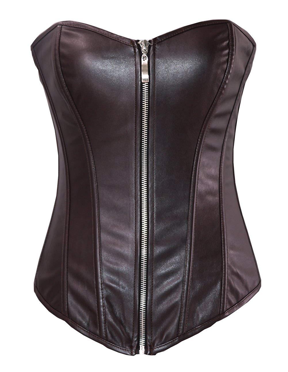 e00c007d068 Get Quotations · Lotsyle Women s Faux Leather Overbust Corset Lace up Back  Bustier (2XL Waist 33