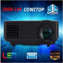 Full HD 2000lumens Projector,1920 x 1080 LED LCD 3D Home theater LED Proyector 50000hrs Support USB PC smart phone laptop tablet