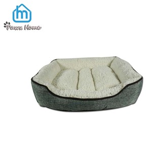 Pet accessories dog bed,plush and linen pet luxury soft pet bed for dogs