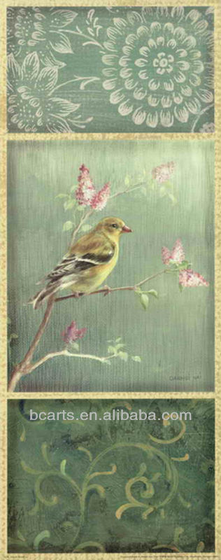 Handmade classical abstract Bird flower canvas painting, wholesale painting and calligraphy