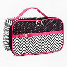 Contrast Color Polka Dot Chevron Pattern PU Travel Portable Cosmetic Organizer Bag