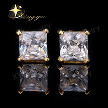 4-8mm Square AAA Cubic Zirconia Prong Setting Cheap Wholesale Stud Earrings