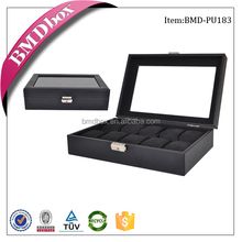 Accept OEM 10 slots glass top luxury engraved leather watch box,mens watch box,watch storage box
