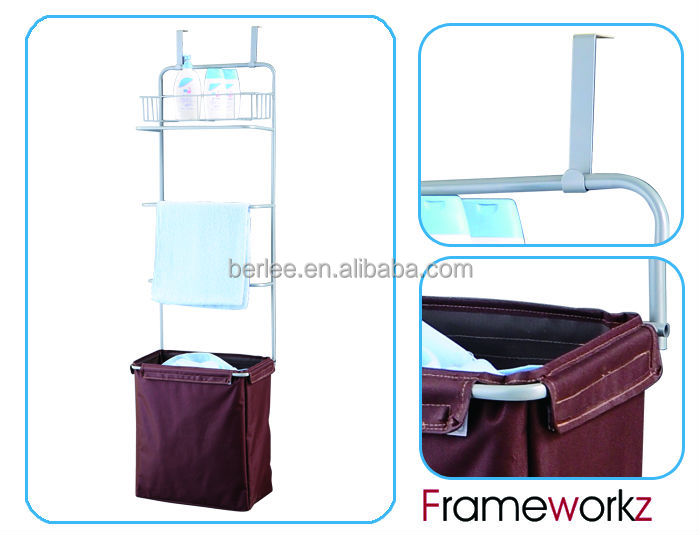 Over Door Hanging Laundry Hamper Sorter With Towel Rack