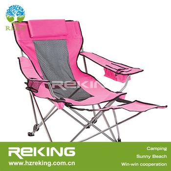Rose Chaise Pliante De Camping Avec Repose Pieds