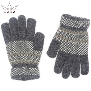 Winter Children Knitted Checked Four Colors Finger Gloves for Kids