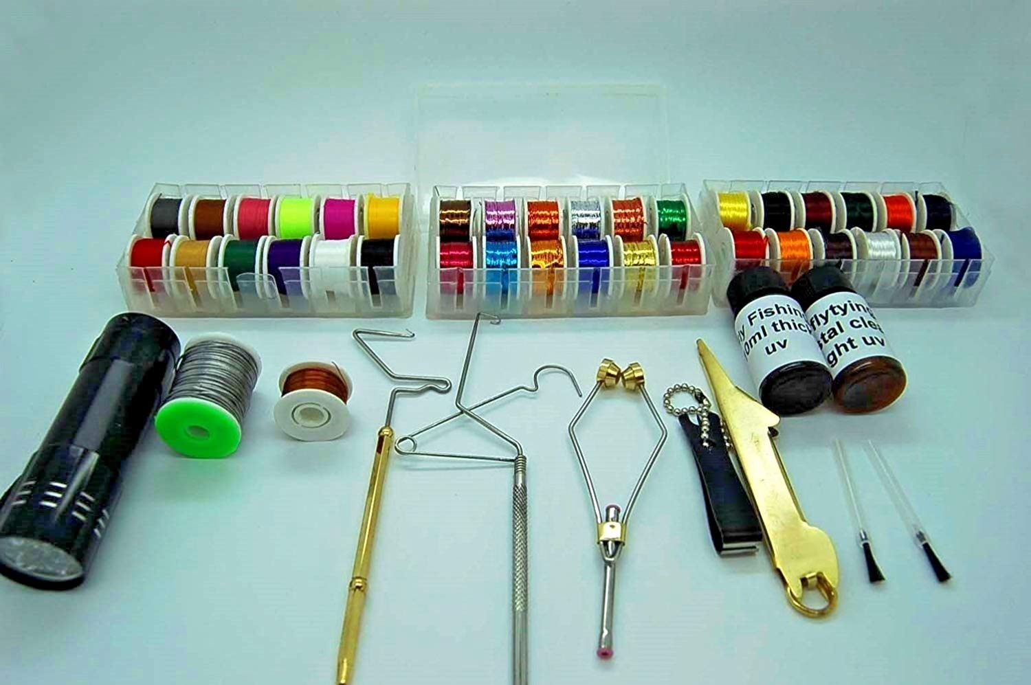 Fly Tying Tool and Material Kit, Floss, Tinsel, Thread, Glue, Whip Finisher, Wire, UV Torch