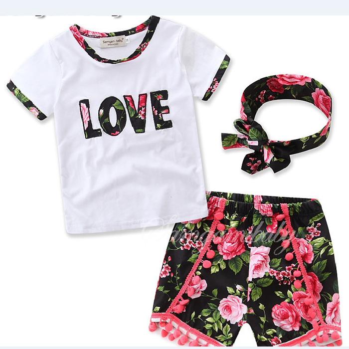 bd6e71acfab66 الجملة الاطفال الملابس 2017 إنس مجموعات الصيف فتاة الحب إلكتروني + القبعات  3 قطع الطفل القطن