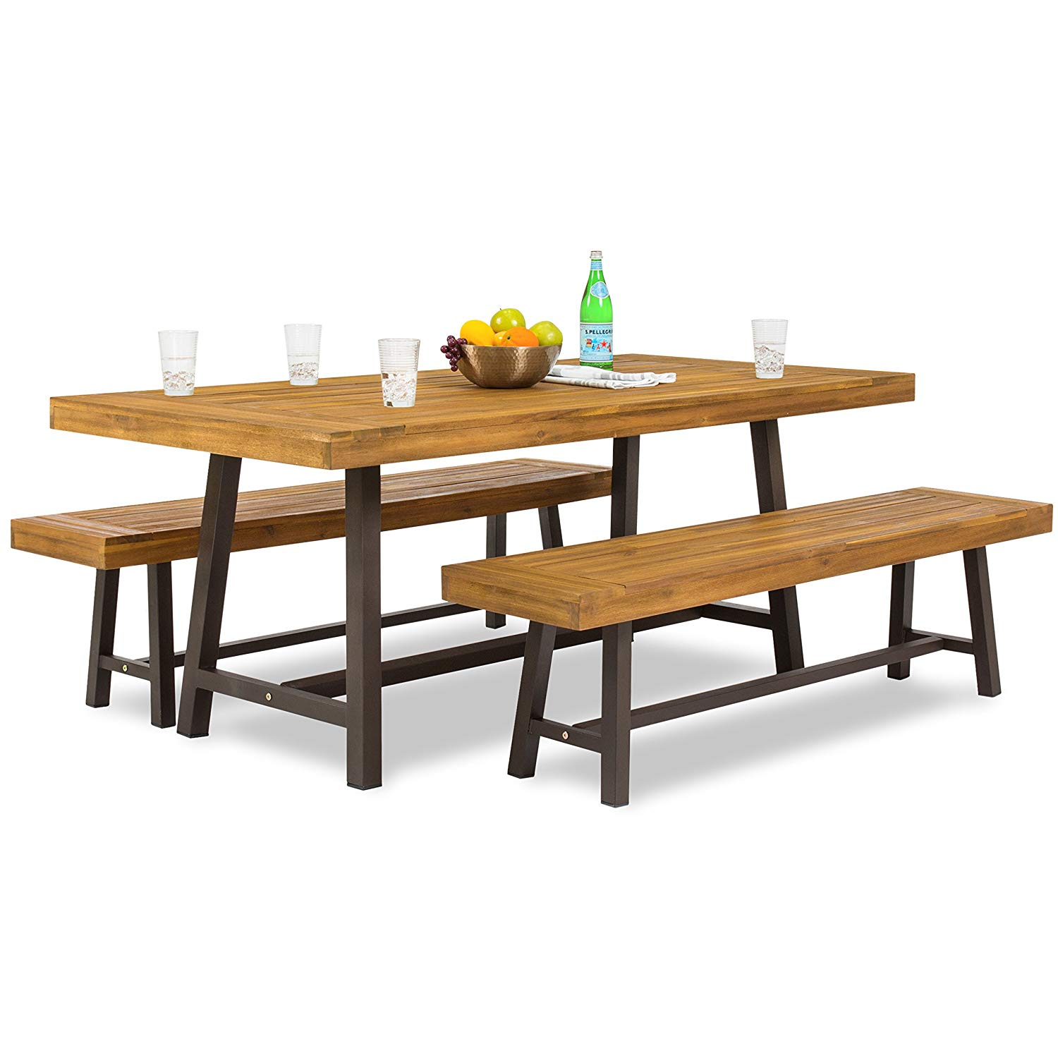 Care 4 Home LLC 3 Piece Outdoor Picnic Park Set, Large Rectangular Table 2 Backless Benches, Durable Metal Base, Weather Resistant, Ideal for Garden, Outdoor Furniture + Expert Guide