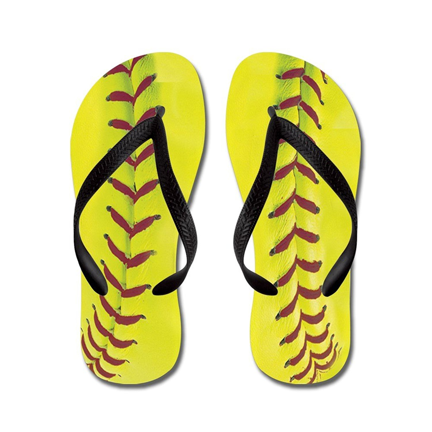 0883f330027b Get Quotations · CafePress High-Visibility Yellow Softball - Flip Flops