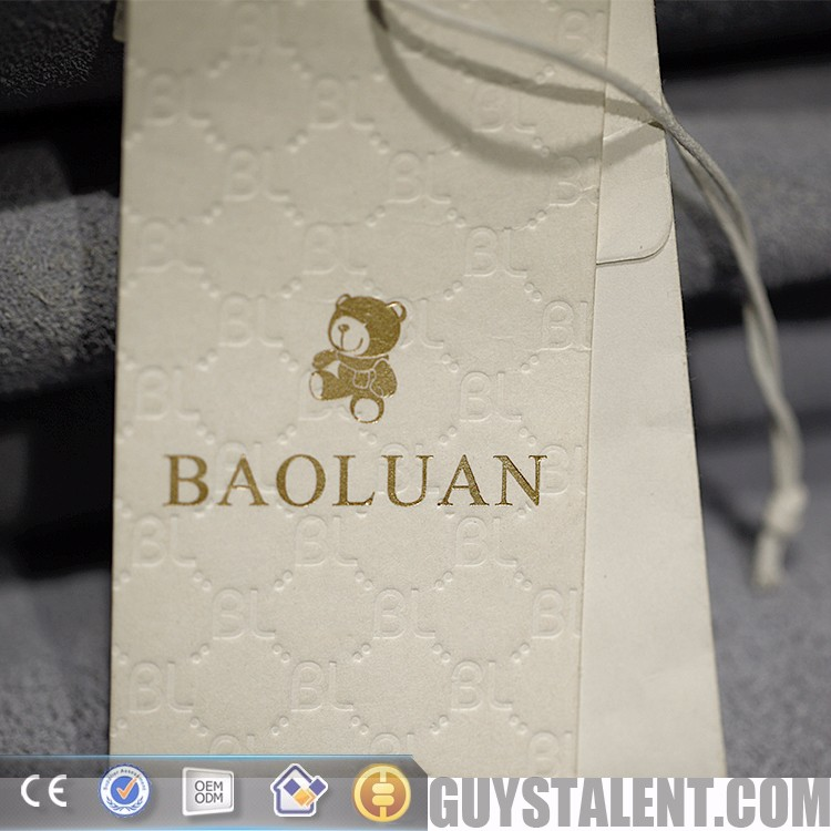 China fashion design customized label hang tag printing for clothing