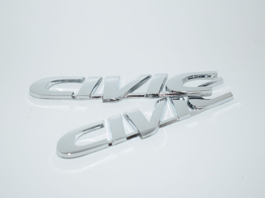 Civic Chrome Badge Emblem Logo Fender Trunk Side Body Hood Chromed Decal Sticker 3D Car Auto Adhesive Replacement Truck Van Sports Diy Name Plate Swap Abs Plastic [2 Piece] SKU#2351-BX991