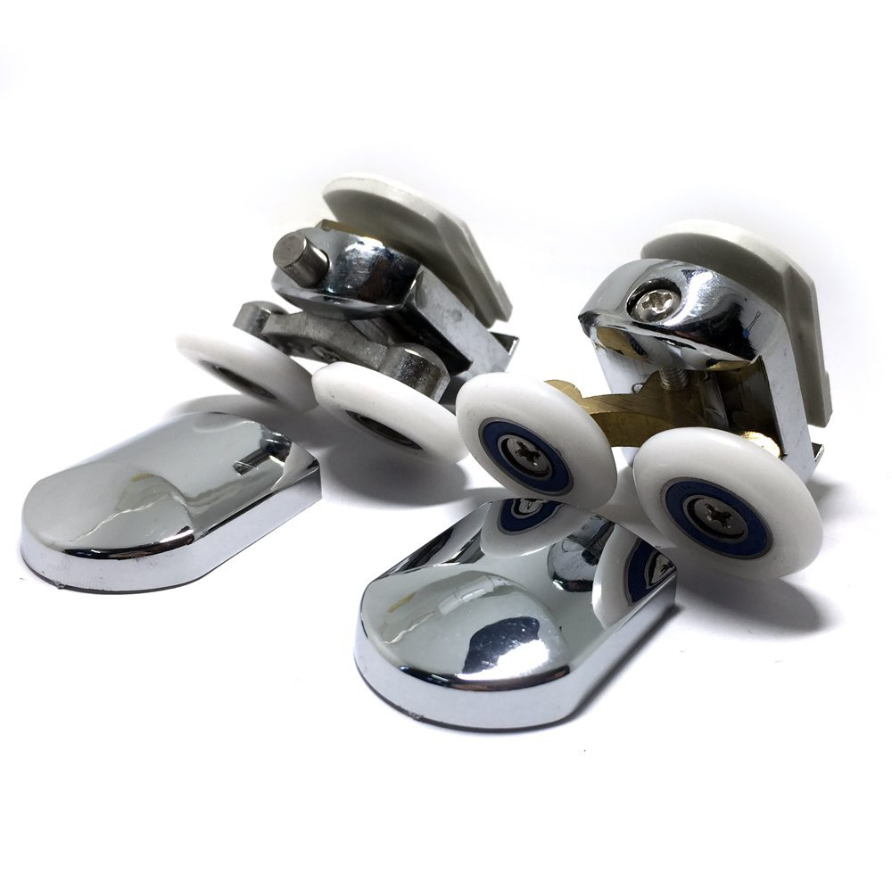 Smooth Replacement Shower Door Fixing Wheels in Chrome - 2x Top & 2x Bottom - Fits Glass 6-8mm