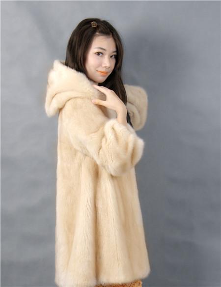 2015 winter woman fashion real mink fur LONG real mink coat 8046 HOOD