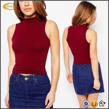 Ecoach Wholesale Tank top manufacturer women sexy sleeveless top photos 2016 fashionable white tight tank top with Turtleneck