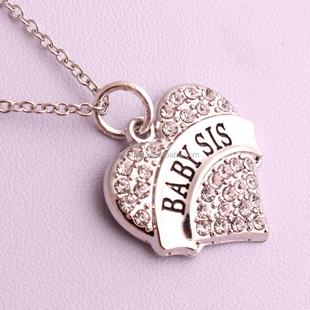 zinc alloy jewelry <strong>cute</strong> pave crystal Baby Sis <strong>cheap</strong> heart <strong>necklace</strong>
