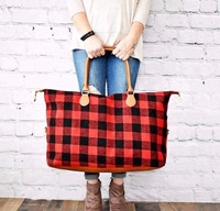 Wholesale large travel plaid weekender bag checked women duffle bags