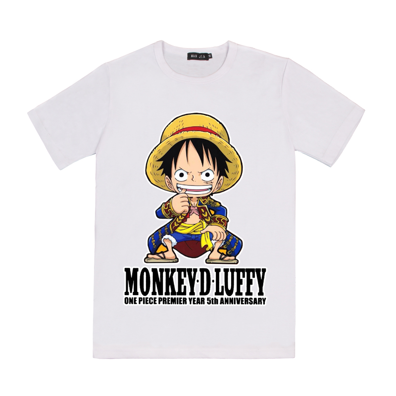 2019 Amazon best selling anime ONE PIECE Luffy men's T-shirt cartoon 3D printing round neck short sleeveHeat-Transfer Printing