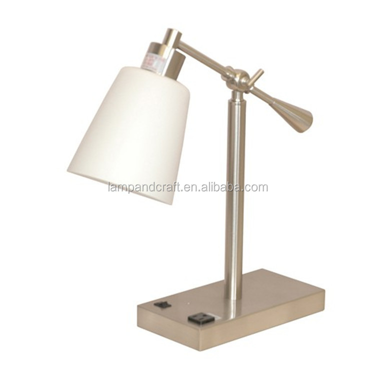 Great White Glass Tube Nightstand Table Lamp With Power Outlet And USB Port In  The Base