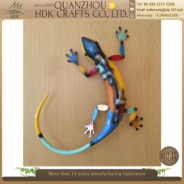 Outdoor garden decorative lizard hanging wall decor metal art