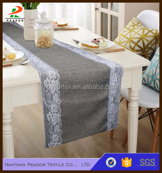 Modern Burlap Table Runners Covers for Wedding Decorations Dark Silver Tablecloth Dining Home Textiles
