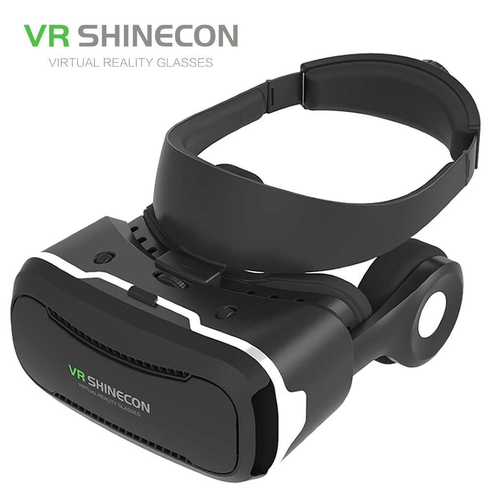 VR Shinecon 4th Generation 3D Virtual Reality Headset with Stereo Headphone, 360° Viewing Immersive VR Headset, Smart Phone 3D Movies Games Video Glasses, Black