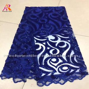 High quality royal blue party dress design embroidery velvet net lace fabric