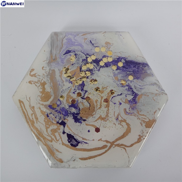 Custom new design marble made hexagon shape cup coasters for coffee cup mat