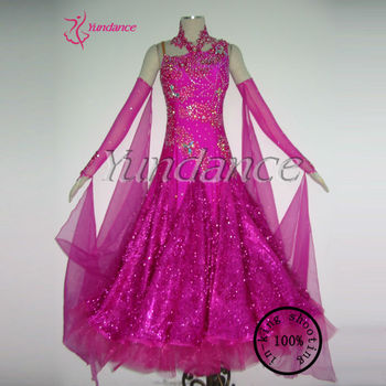 B-11327 Pink Feather Ballroom dresses china competition 20818d182