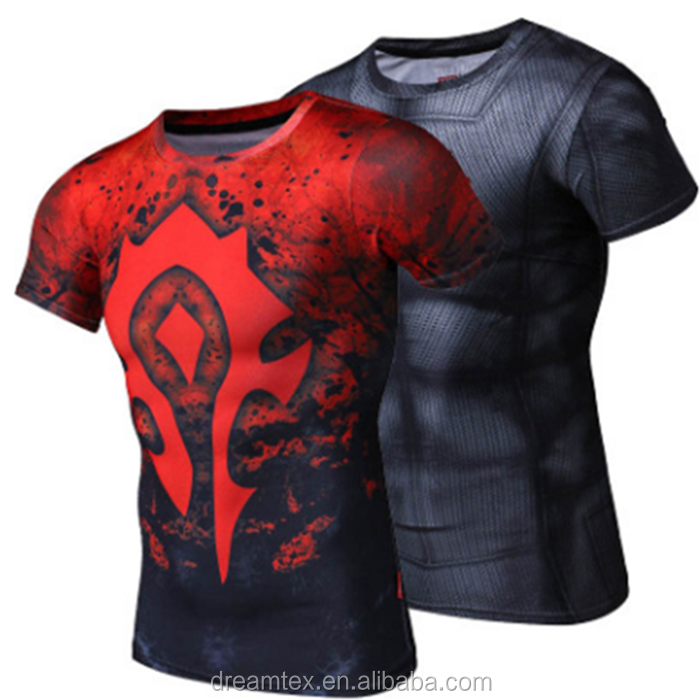 2016 World of Warcraft Movie Theme Tribal Alliances Short Sleeve T-shirt Men's Fitness Tights