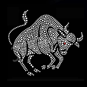 New pattern for bulls custom heat transfer design rhinestone for clothing