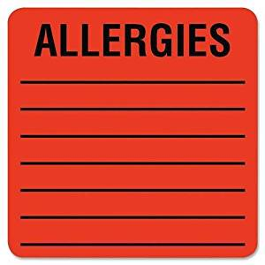 "Tabbies Allergy LabelS, 2""x2"", 500LB/RL, Fluorescent Red (40560)"