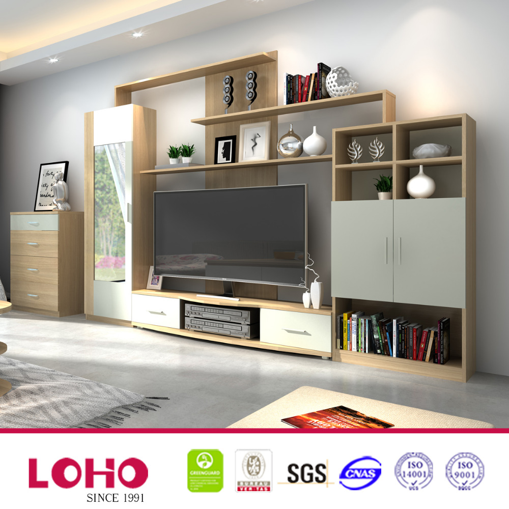 LOHO Furniture latest plywood living room furniture tv wall unit design