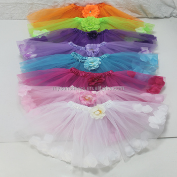 wholesale and retail sweet cute girl party wear fluffy flower petal filled tutu dance skirt