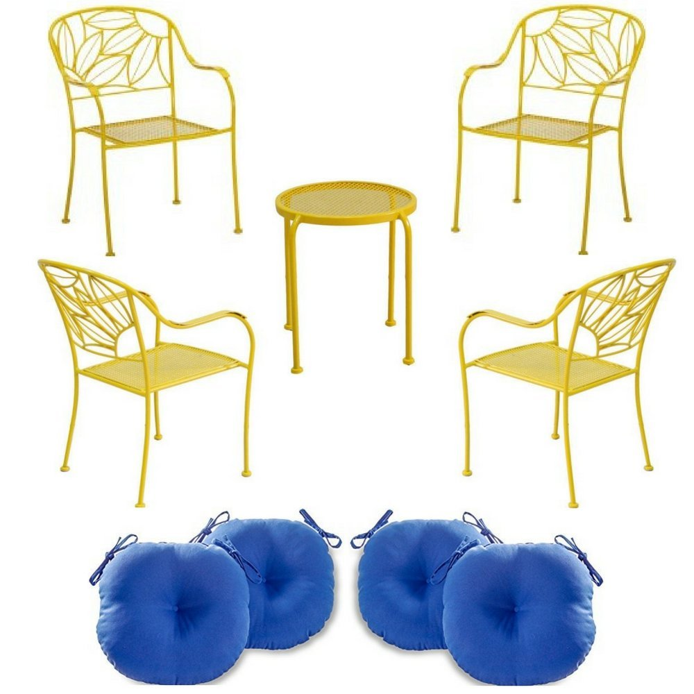 Hello Sunny Bistro 4-Piece Chair, 2-Piece Side Table & 15-Inch Set of 4 Outdoor Bistro Chair Cushions In Marine Blue, Mainstays, Furniture & Cushions, Patio, Durable Steel Frame, Powder Coated Finish