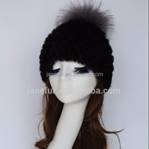 Ladies Russian Style Mink Fur Knit Hat With Raccoon Fur Ball