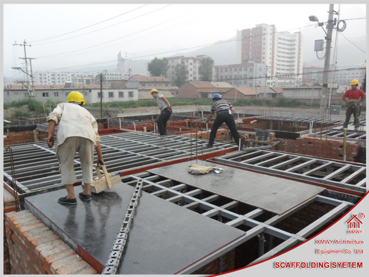 Scaffolding concrete supporting material floor slab for House built on concrete slab