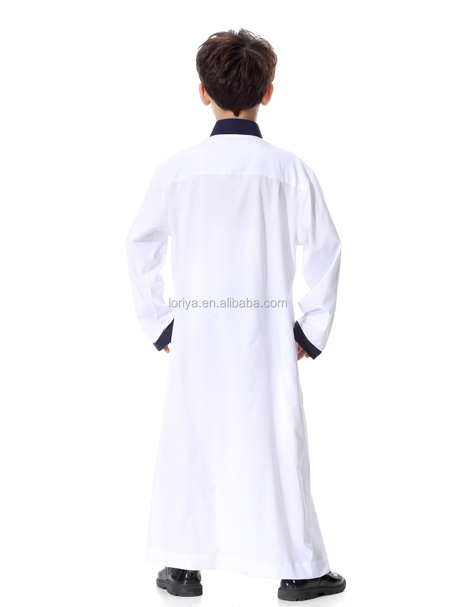 In stock fashion arabian children thobe jubah kids abaya ethnic boys wear muslim kaftan kimono maxi dubai kids abaya