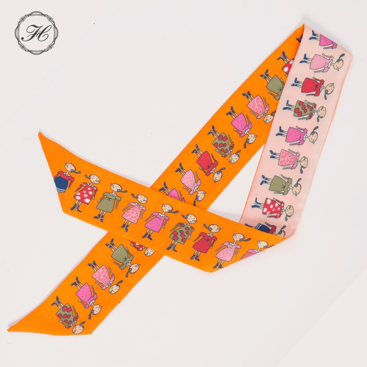 chinese digital print custom design twilly scarf silk