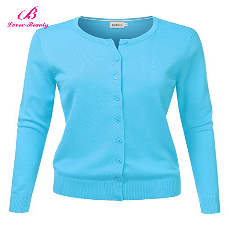 Women Button Down Long Sleeve Basic Soft Knit Cardigan Sweater