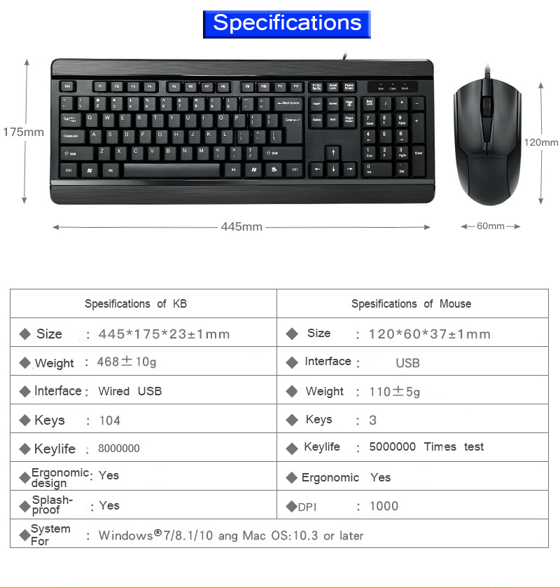 फैक्टरी प्रत्यक्ष सबसे अच्छा oem कस्टम ब्रांड लोगो के लिए प्रो यूएसबी ps2 वायर्ड कॉम्बो कीबोर्ड और माउस पीसी लैपटॉप