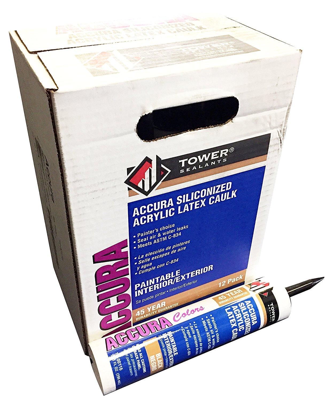 Tower Sealants TS-00116 10.0 fl-Ounce Accura Acrylic Adhesive Sealant, Black - Pack of 12