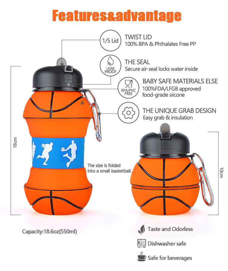 Basketball Shaped Bpa Free Silicone Foldable Children School Water Bottle Kids