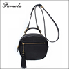 Lady luxury design fashion leather cross body round bag women messenger bag for sale