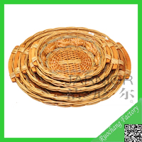 Small nature willow wicker bread basket tray
