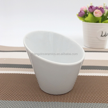 Eco Friendly White Decorative Salad French Fries Mixing Oblique Oval Mouth Dip Ceramic Bowl For Hotel Restaurant Dinner Buy Ceramic Bowl For Hotel