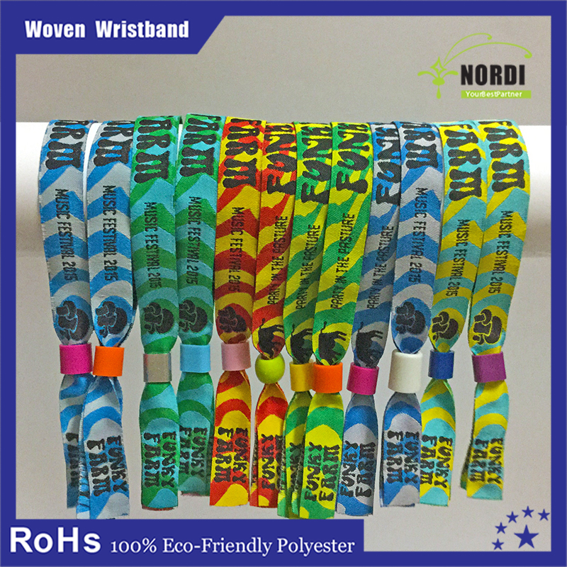 Customized fabric one time Typical thread woven cloth wristband for festival days