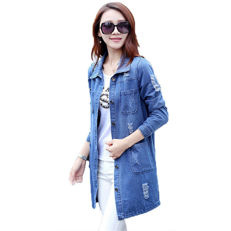 7dddfb014fd Get Quotations · B dressy Plus Size 5XL Denim Jacket Women Fashion Long  Sleeve Jeans Coat Female Casual Ripped